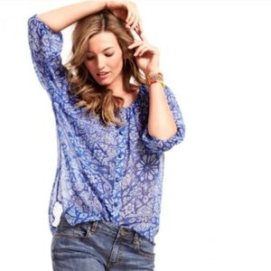 Cabi floral print sheer tunic peasant top button